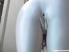 Round Ass Teen Stretching in...