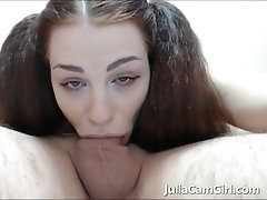 Horny girlfriend sucks long and...