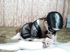 Cowgirl fuck in long nude dress