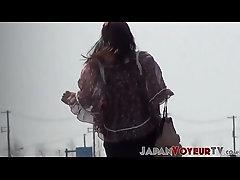 xhamster Japanese babe shows nipple while...