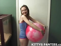 Cute teen Kitty teasing in a...