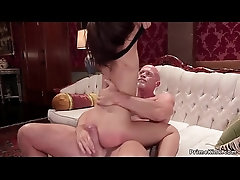 Old butler anal fucks mom and...