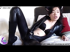 Cute Little Asian In Her Latex...