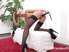 Skinny Teen in stockings cums...