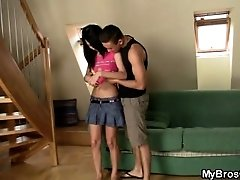 Cute brunette girl cheats with...