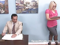 Big ass blonde dominating coworker