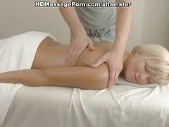 Blonde girl enjoys massage and fuck