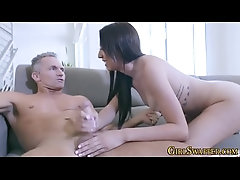 Teen stepdaughter riding