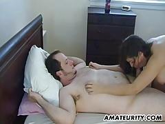 Busty amateur GF sucks and fucks...